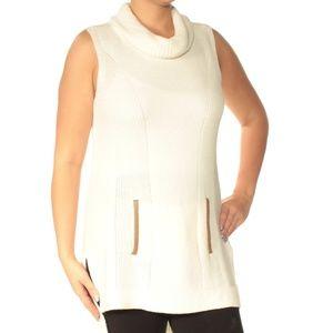 Tommy Hilfiger Cowl Neck Ivory Sleeveless Sweater